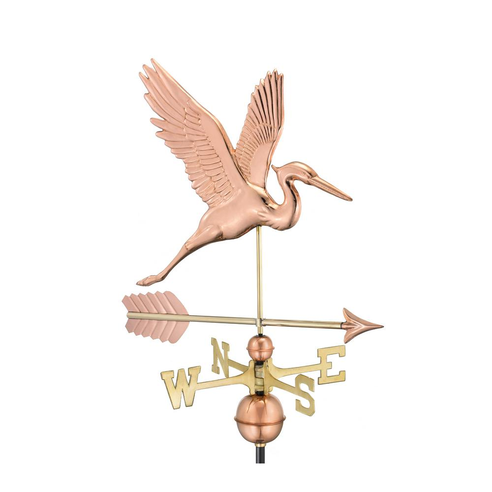Graceful Blue Heron with Arrow Weathervane-Pure Copper