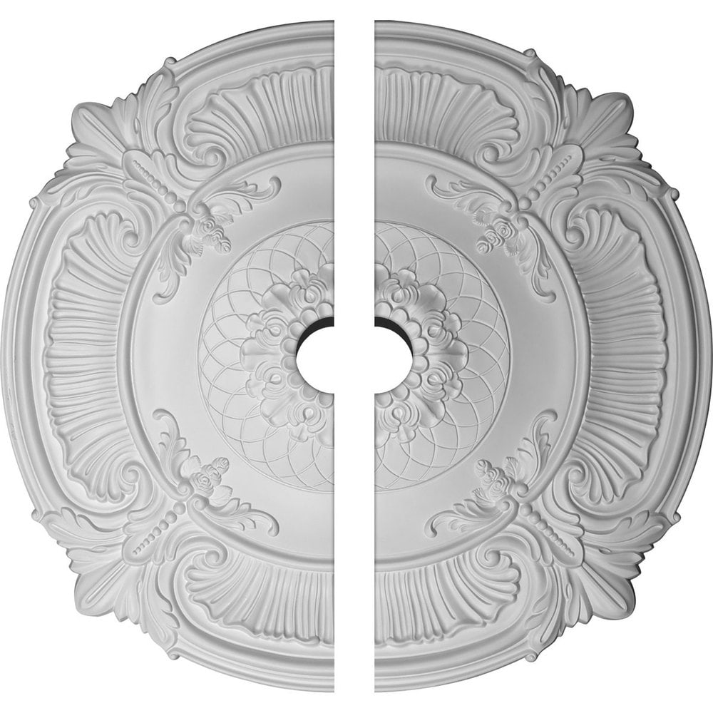 Ekena Millwork Attica Ceiling Medallion/Unfinished Polyurethane / Two Piece (Fits Canopies up to 3 3/4') / 39 1/2'OD x 3 3/4'ID x 2 1/2'P / CM39AT2-05000