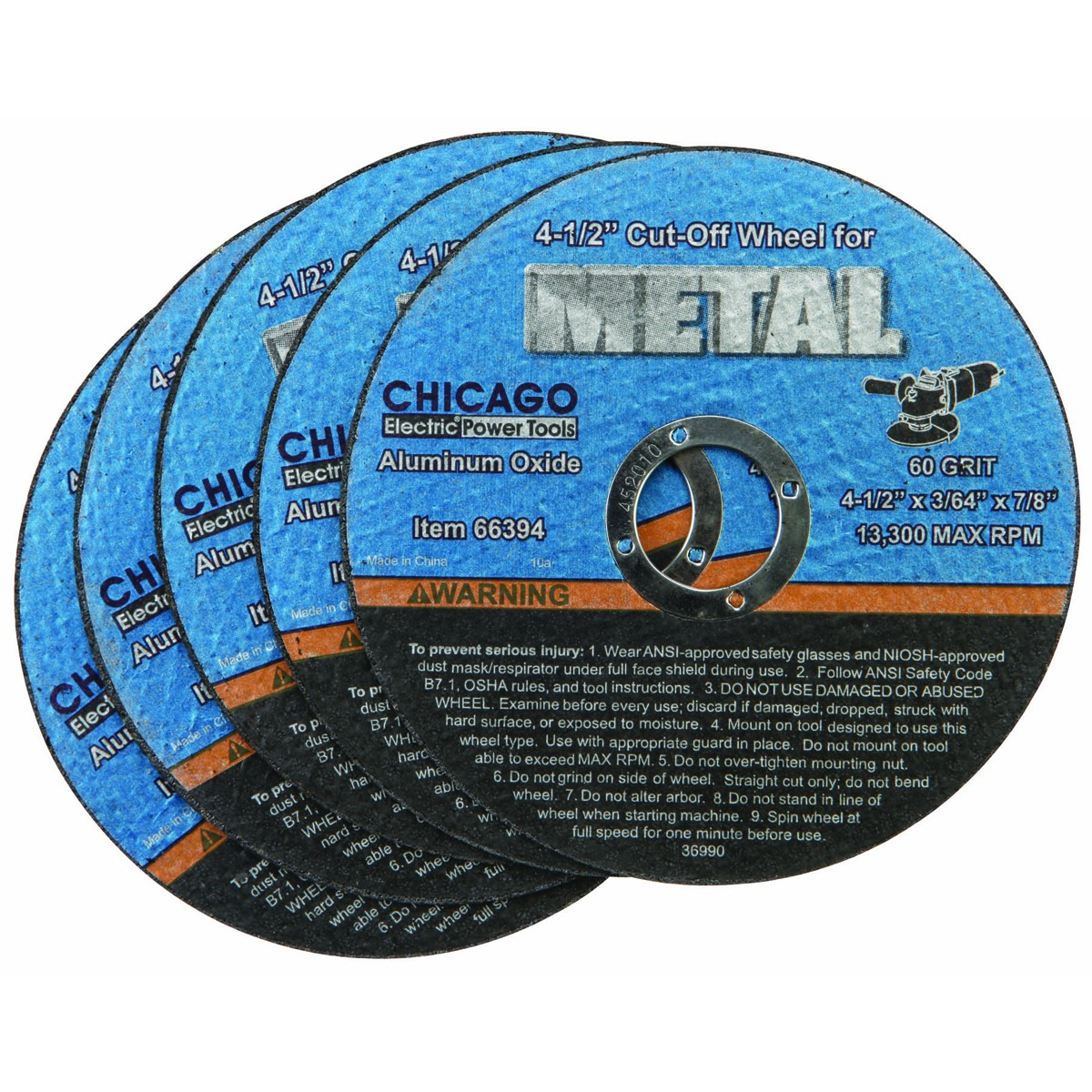 4-1/2 in. 60 Grit Thin Metal Cut-off Wheel 5 Pc