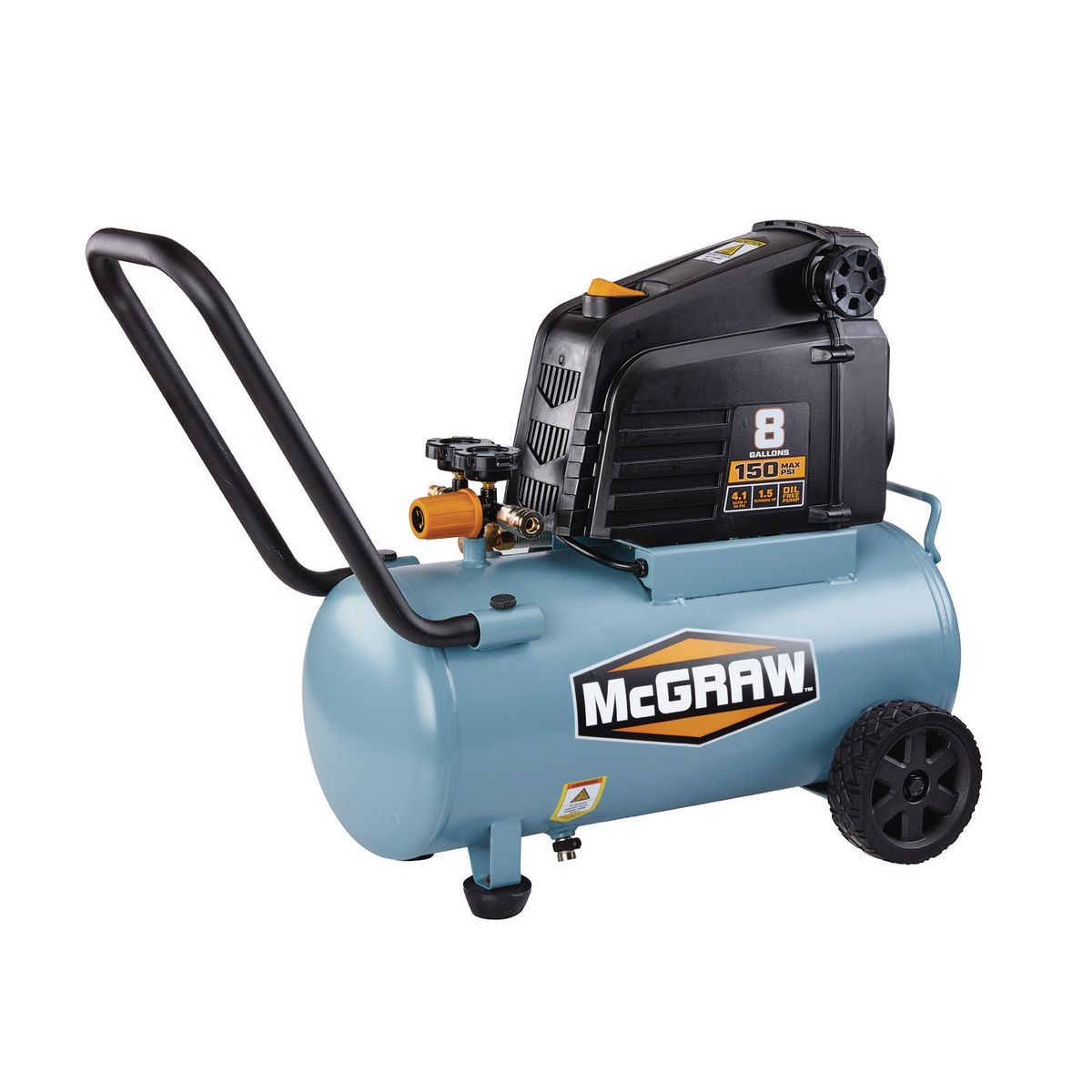 8 gallon 1.5 HP 150 PSI Oil Free Portable Air Compressor