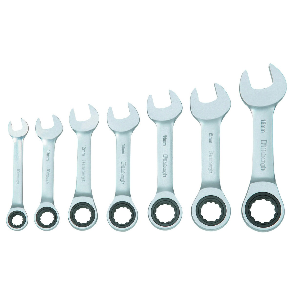 7 Pc Metric Stubby Combination Ratcheting Wrench Set